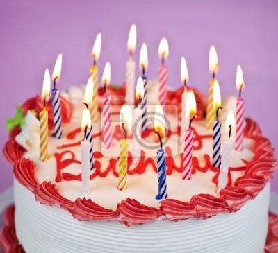 Geburtstagskuchen Mit Brennenden Kerzen Fototapete Fototapeten