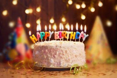 Geburtstagskuchen Mit Kerzen Helle Lichter Bokeh Fototapete