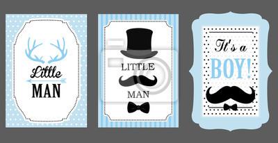 Geburtstagsparty des kleinen mannes. babyparty-party. vektor-poster ...