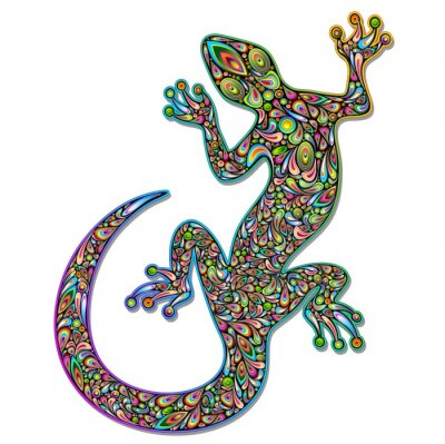 Fototapete Gecko Geko Lizard Psychedelic Art Design-Geco psichedelico