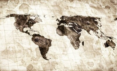 Fototapete gefärbten Grunge Karte der Welt