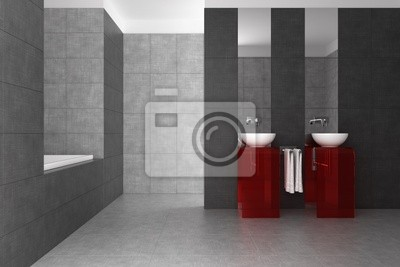 Geflieste badezimmer mit doppelwaschbecken und badewanne fototapete ...