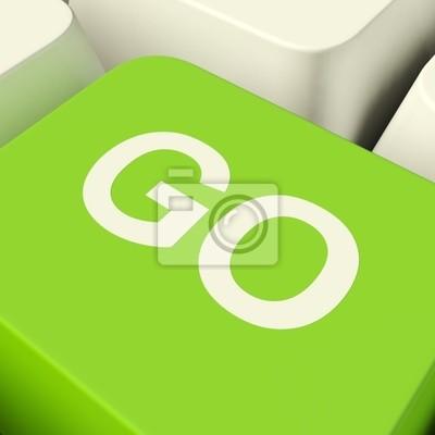 Fototapete Gehen Computertaste In Green Angezeigt Starten und Ja