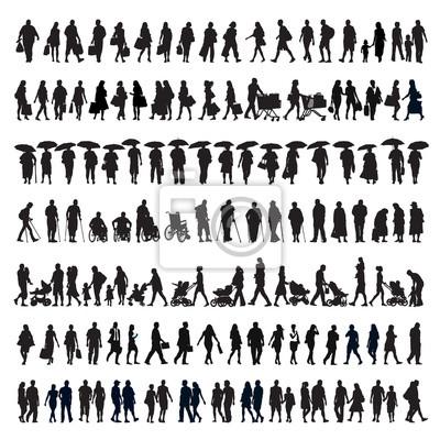 Fototapete Gehende Leute silhouettieren