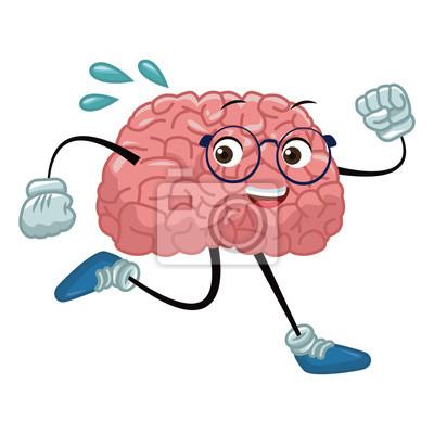 Gehirn-Cartoon läuft Symbol Vektor-Illustration Grafik-Design