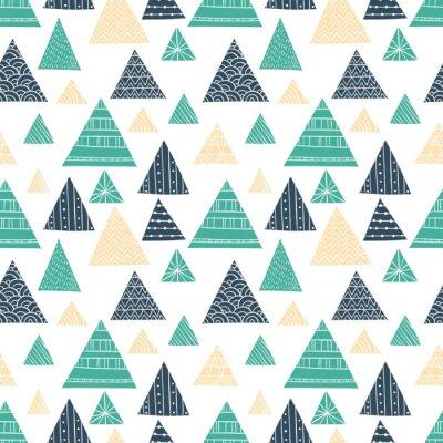 Fototapete Gekritzel-Dreieck-nahtloses Muster