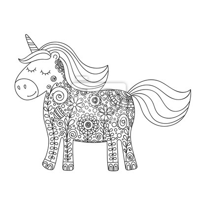 Fototapete Gekritzel Einhorn Niedliche Handzeichnung Unicorn Mit Floralen