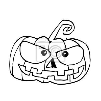 Fototapete Gekritzel Halloween Kürbis Ikone Hand Zeichnen Illustration Design