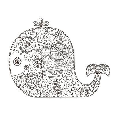 Gekritzelwal. hand gezeichnet vektor wal mit doodle floral ornament ...