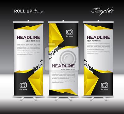 Gelb und schwarz roll up banner vorlage vektor-illustration ...