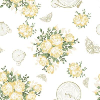 Fototapete Gelbe Blumen, Schmetterlinge und Fahrräder Nahtlose Muster