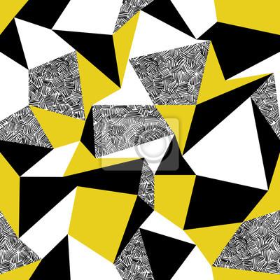 Gelbe Dreiecke. Geometrische nahtlose Muster im Retro-Stil. Vin