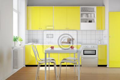 Fototapete: Gelbe küchenzeile in kleiner küche