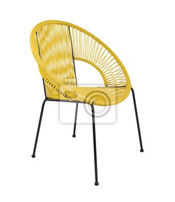 Gelbe Rattan Outdoor Stuhl Auf Weissem Hintergrund Dreiviertel
