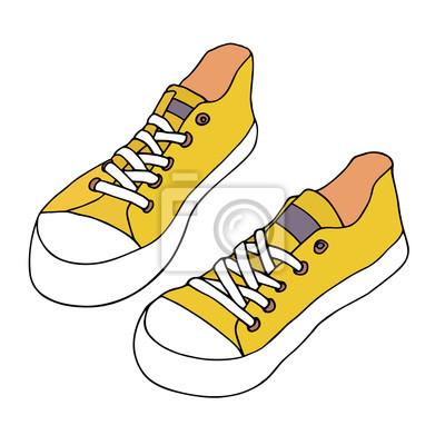 Fototapete Gelbe Turnschuhe. Klassisches Paar Schuhe. Hand gezeichnete  künstlerische Skizze. 7e01042589