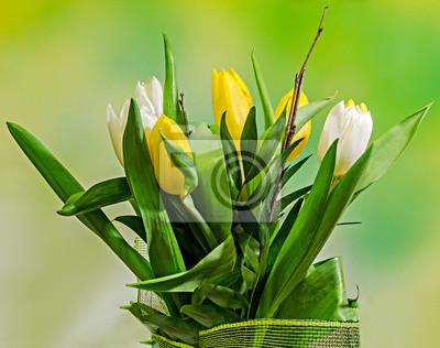Gelben und weißen tulpen blumen, blumenstrauß, blumenschmuck ...
