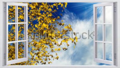 Fototapete Gelber Herbstlaub im Himmel