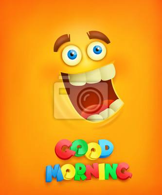 Gelber Hintergrund Mit Smiley Gesicht Guten Morgen Konzept