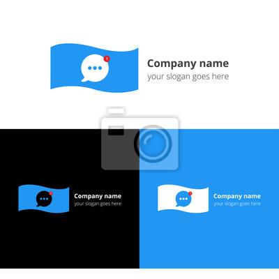Geld-chat-benachrichtigung mit blau trendfarbe. flache logo-design ...