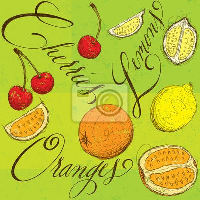 Gemischte Früchte mit Kalligraphie