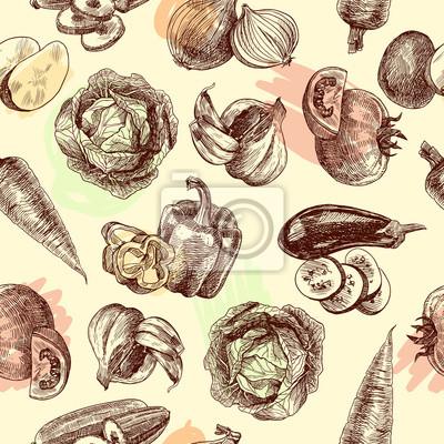 Gemüse skizzieren nahtlose Muster