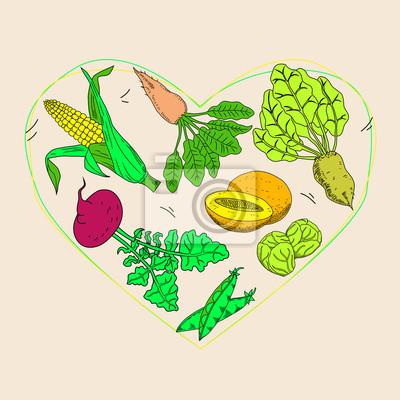 Gemüse- und fruchtnahrungsmittelgesundheitspflegeherzform ...