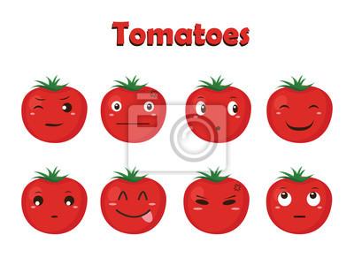 Gemüse Vektor Tomate Cartoon Mit Verschiedenen Ausdrücken