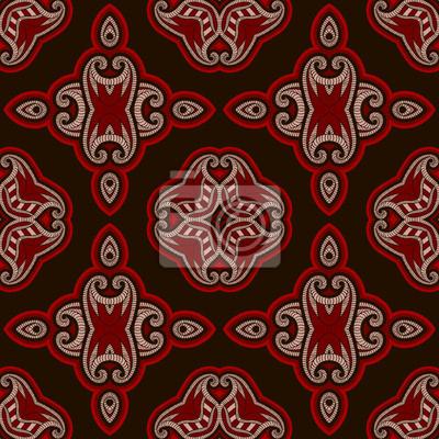 Gemusterte Bodenfliesen Im Orientalischen Stil In Farben Rot