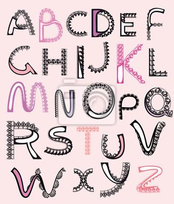 gemusterte Buchstaben, Alphabet Spitze