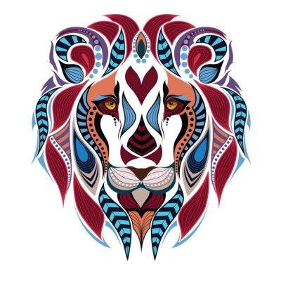 Fototapete Gemusterte farbige Kopf des Löwen. Afrikanisch / indisch / Totem / Tätowierungentwurf. Es kann für die Gestaltung eines T-Shirt, Tasche, Postkarte und Poster verwendet werden.