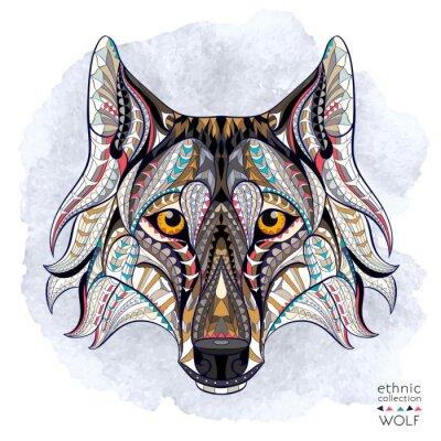 Fototapete Gemusterten Kopf des Wolfs auf dem Grunge-Hintergrund. Afrikanisch / indisch / Totem / Tätowierungentwurf. Es kann für die Gestaltung eines T-Shirt, Tasche, Postkarte, ein Poster und so weiter verwend