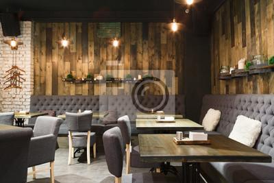Fototapete Gemütliche hölzerne Innenraum des Restaurants, kopieren Raum