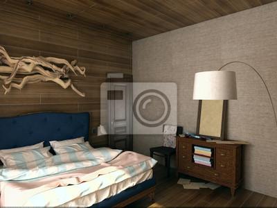Fototapete: Gemütliche vintage schlafzimmer mit holzplatten und dekor