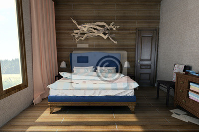 Gemütliches schlafzimmer im vintage-stil fototapete • fototapeten ...