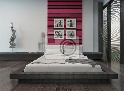 Fototapete: Gemütliches schlafzimmer interieur mit rosa / rot farbigen wand