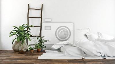 Fototapete: Gemütliches schlafzimmer. skandinavischer stil