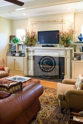 Fototapete: Gemütliches wohnzimmer mit kamin und plasma-fernseher