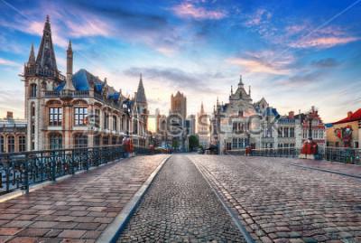 Fototapete Gent, Belgien am Tag, alte Stadt Gent
