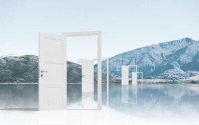 Fototapete Geöffnete Türen im Feld