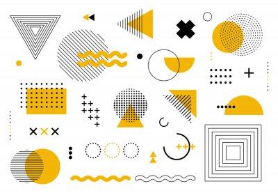 Fototapete Geometric abstract elements memphis style. Set of funky bold constructivism graphics for posters, flyers. Vector yellow and black minimal shapes for modern cover design