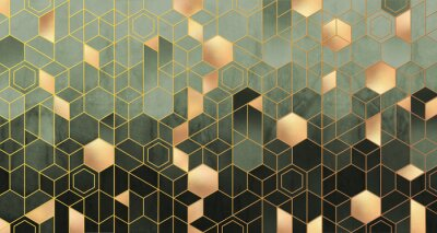 Fototapete Geometric abstraction of hexagons in green tones on a raised background with gold elements.