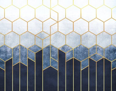 Fototapete Geometric abstraction of hexagons on a blue relief background with gold elements. Fresco for interior printing, Wallpapers.