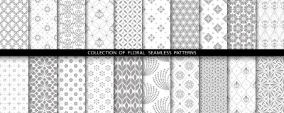 Fototapete Geometric floral set of seamless patterns. Gray and white vector backgrounds. Simple illustrations.