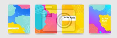 Fototapete Geometric pattern background texture for poster cover design. Minimal color gradient banner template. Modern vector wave shape for brichure