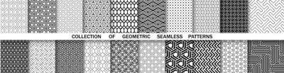 Fototapete Geometric set of seamless black and white patterns. Simple vector graphics