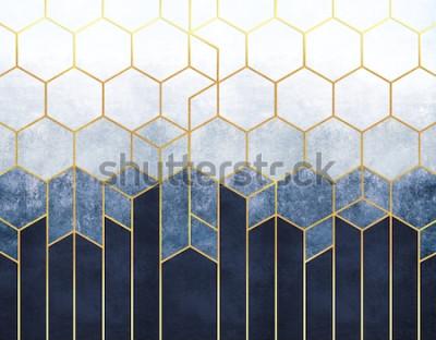 Fototapete Geometrische Abstraktion von Sechsecken auf einem blauen Reliefhintergrund mit Goldelementen. Fresko für den Innendruck, Tapeten.