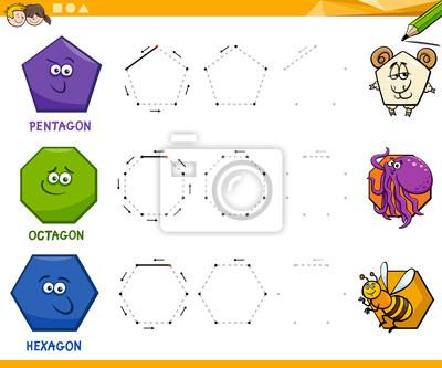 Geometrische formen zeichnen arbeitsblatt fototapete • fototapeten ...