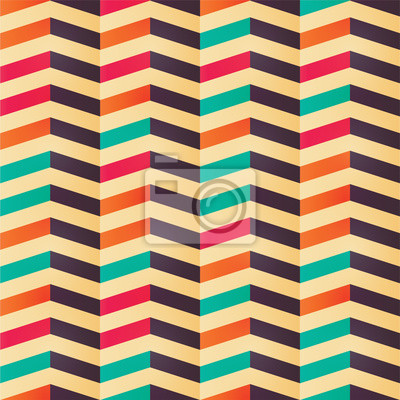 Geometrische Nahtlose Chevron Muster In Retro Farben Fototapete