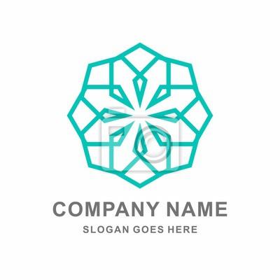 Geometrische sechseck dekoration vektor-logo-vorlage fototapete ...