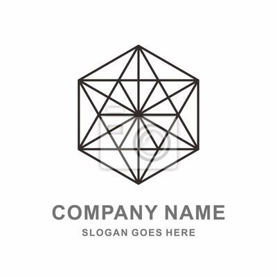 Geometrische sechseck dreiecklinie vektor-logo-vorlage fototapete ...